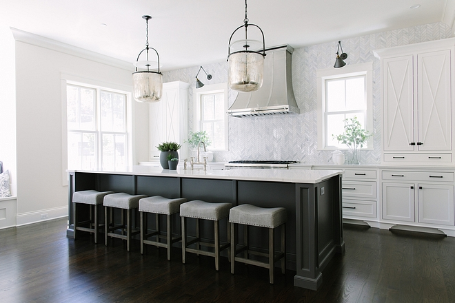 Kitchen Kitchen is almost 20' long and the custom cabinets are painted in Benjamin Moore Simply White #kitchen #BenjaminMooreSimplyWhitekitchen #BenjaminMooreSimplyWhite