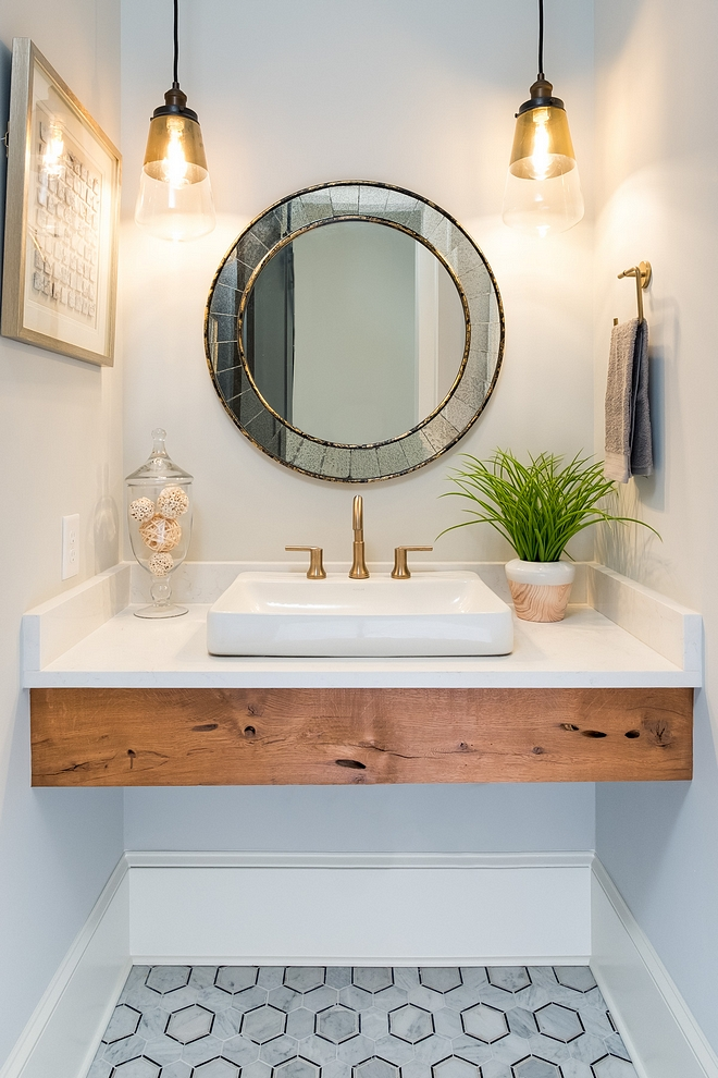 Floating Vanity Bathroom The apron was hand selected from a local supplier of reclaimed wood and stained in a cedar tone Benjamin Moore Natural Cedar Tone #FloatingVanity #Bathroom