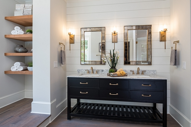 Bathroom Bringing together white shiplap, an espresso vanity, brass hardware, and cedar wood shelves was the perfect combo for this bathroom #Bringing together white shiplap, an espresso vanity, brass hardware, and cedar wood shelves was the perfect combo for this bathroom #bathroom #shiplap #vanity