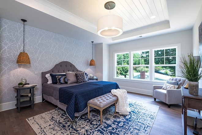 Shiplap tray ceiling Bedroom Shiplap tray ceiling tray Bedroom ceiling is accented with inlaid shiplap trim #bedroom #shiplaptrayceiling