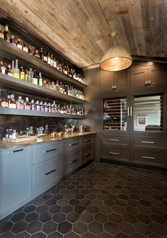 Benjamin Moore HC-168 Chelsea Gray Cabinet Rustic Bar with reclaimed shiplap #BenjaminMooreHC168ChelseaGray