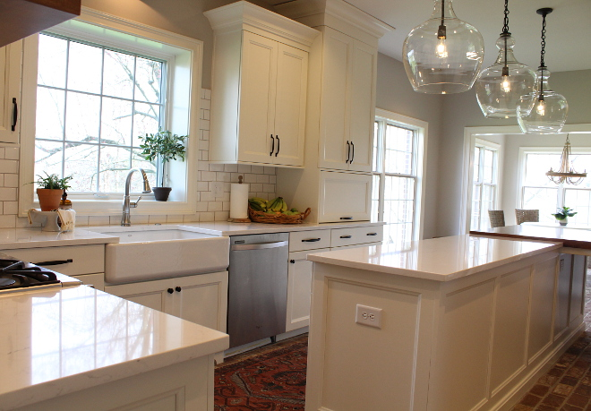 Kitchen Cabinets Amish made with custom colors from their manufacturing The color we have is Alabaster which is a warmer tone of white than the Sherwin Williams alternative #KitchenCabinet
