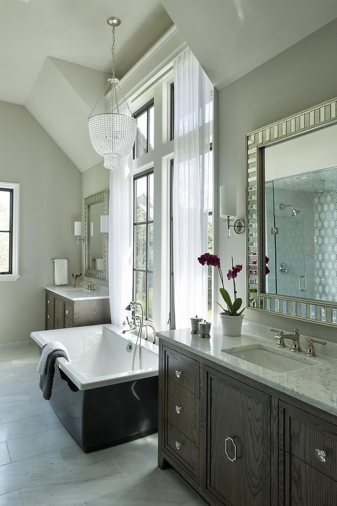 Floor tile is 12x24 London Calling Honed marble tile Wall color is Benjamin Moore Collingwood #BenjaminMoore #Collingwood