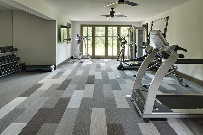 Home Gym Flooring Forbo Carpet Tiles. It's antimicrobial and wears amazing This was a glue-down installation