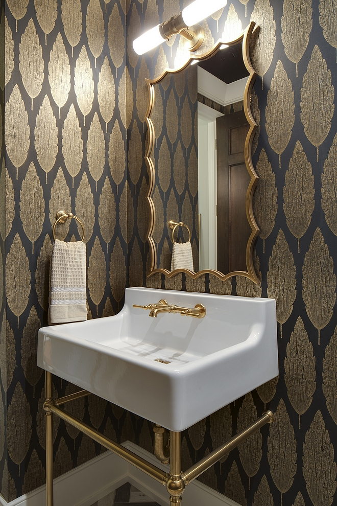 Golden metallic wallpaper Bathroom Powder room with Golden metallic wallpaper #Goldenmetallicwallpaper #wallpaper