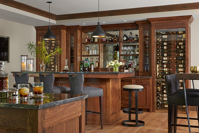 Basement bar Cabinetry is Walnut; Dark Custom Stained #basementbar #walnutbar