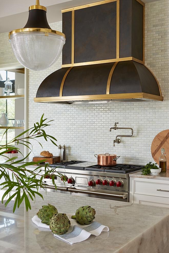 "Kitchen Backsplash Backsplash is Jeffrey Court Calcutta marble mosaic tile installed only at the range wall Small Scale beveled subway 12"" x 12"", mesh mounted #KitchenBacksplash #Backsplash"