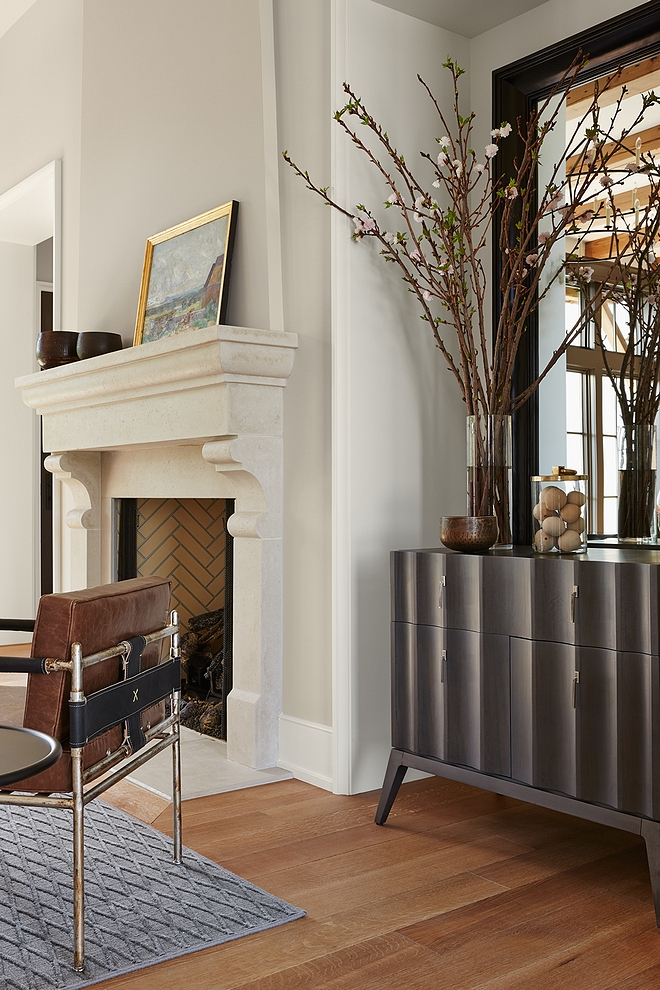 Fireplace is Limestone by Francois & co and wall paint color is Benjamin Moore Collingwood Benjamin Moore #fireplace #BenjaminMooreCollingwood