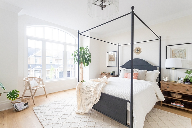 Guest bedroom I wanted something different for our guest room and I opted for this black poster bed which really makes a statement #guestbedroom #bed