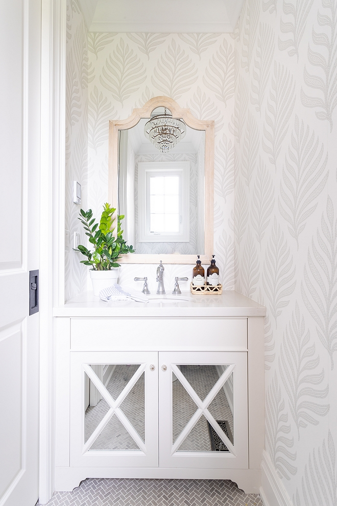 Mirrored Bathroom Cabinet I designed this custom mirrored vanity and paired it with a durable quartz counter Powder Room Mirrored Bathroom Cabinet with x inset mirrored doors #Mirroredcabinet #BathroomCabinet