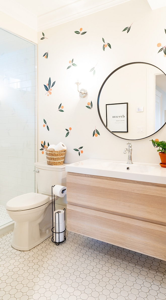 Benjamin Moore Swiss Coffee For the basement bathroom I opted for some cute decals sourced on Home Bunch Wall paint color is Benjamin Moore Swiss Coffee Benjamin Moore Swiss Coffee #BenjaminMooreSwissCoffee #decal