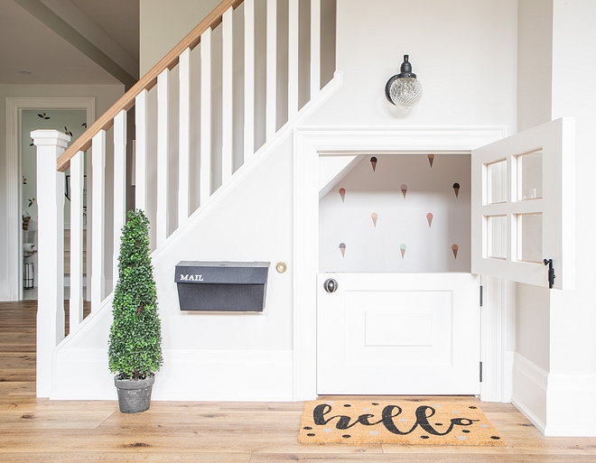 This playhouse under the stairs is always a favourite for all visitors both big and small. It comes fully equipped with a play kitchen and a reading nook. The dutch door is kid favourite too!
