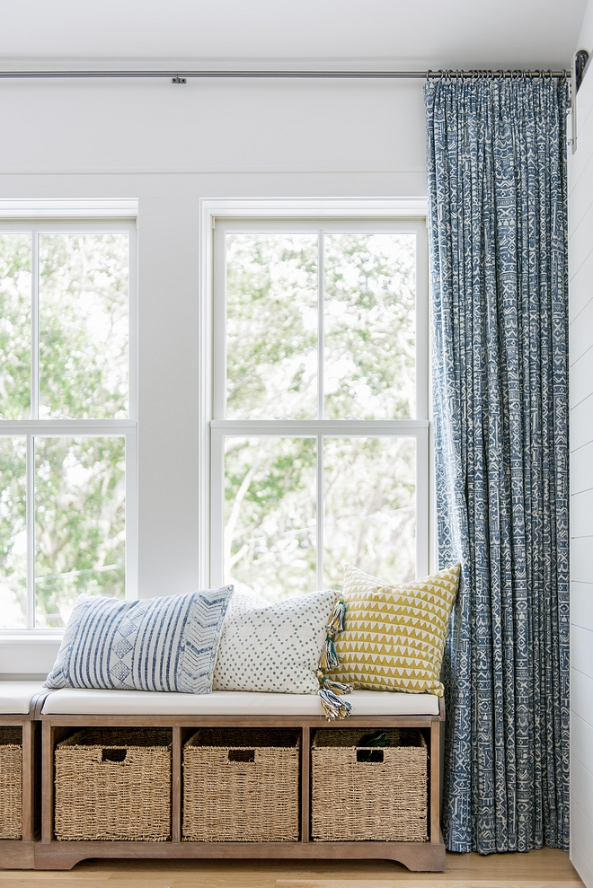 Window seat alternative Adding storage benches below a window is a great alternative to built-ins - and you certainly save some money #windowseat #storagebench #bench