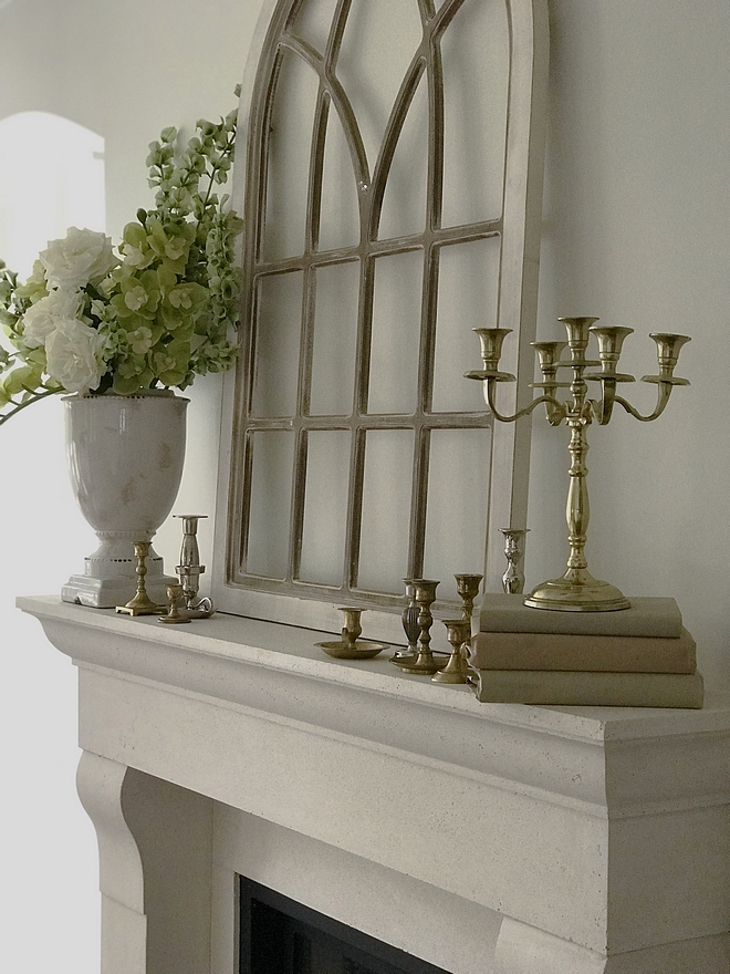 Cast Stone fireplace Anchoring the room is the cast stone fireplace surround #caststonefireplace #fireplace