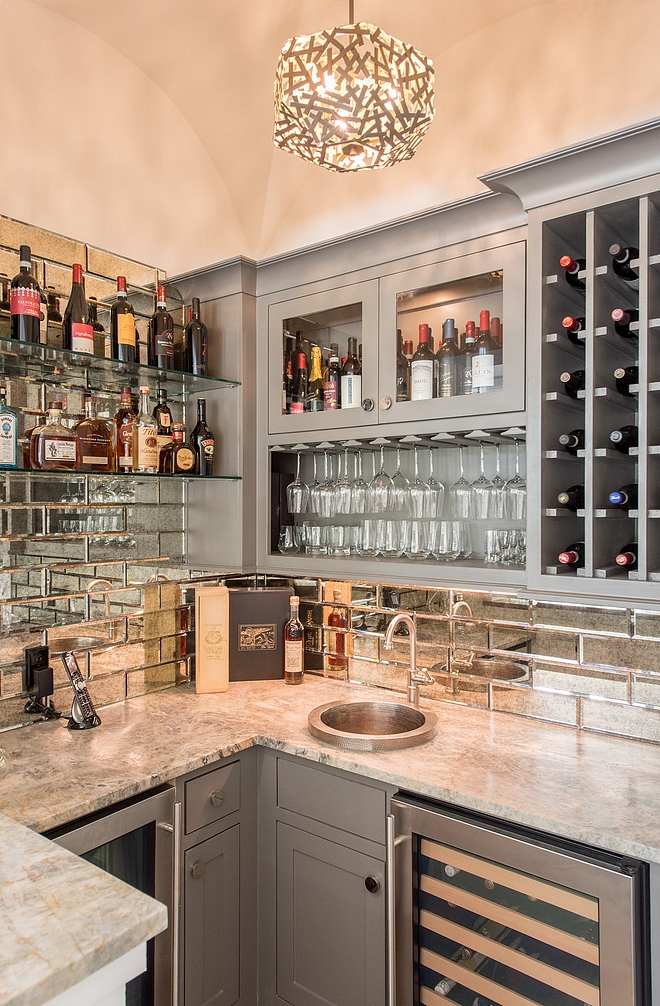 Cielo Leathered Quartzite Countertop Grey bar cabinet painted in Grey Cabinet Sherwin Williams Gauntlet Gray with Cielo Leathered Quartzite countertop #CieloLeathered #Quartzite