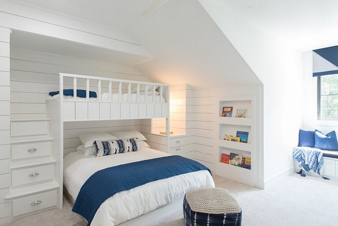 Bunk Room Custom Bunkbed I love the shiplap walls and the custom drawer staircase leading to the upper bunk bed #bunkroom #bunkbedstair #bunkbeds #custombunkroom