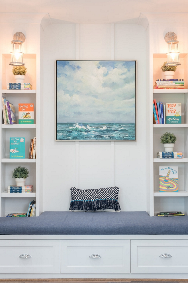 Board and Batten Reading Nook Board and Batten Reading Nook painted in Sherwin Williams Pure White Board and Batten Reading Nook #BoardandBatten #ReadingNook #Nook
