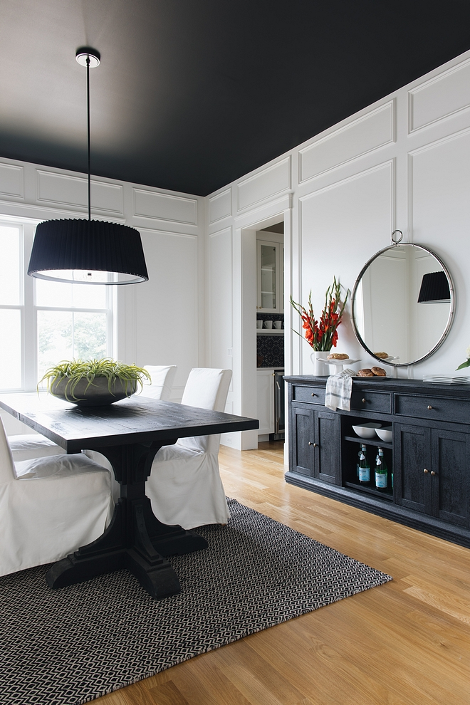 We added drama with a black ceiling Paint color is Black by Benjamin Moore #blackceiling #Paintcolor #BlackbyBenjaminMoore