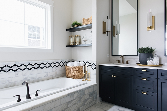 Bath Nook Bath Nook with white marble and marble and black granite accent tile Bath Nook Bath Nook Bath Nook #BathNook
