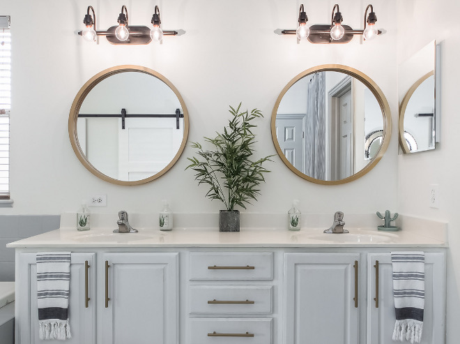 Bathroom Mirror Ideas Round brass mirror in bathroom #bathroommirror #bathroom #mirror #roundbrassmirror