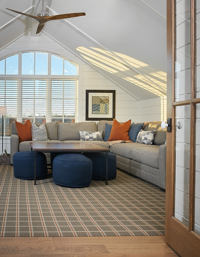 Bonus room with vaulted ceiling and shiplap Paint color is Benjamin Moore Swiss Coffee #bonusroom #vaultedceiling #shiplap #BenjaminMooreSwissCoffee