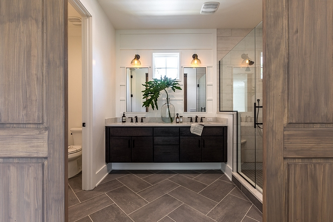 The master bathroom is divided into three parts water closet, vanity are and shower Great usage of space #masterbatrhoom