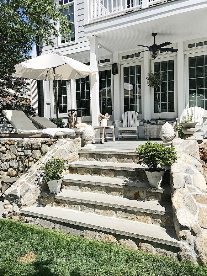 Patio steps with Natural Fieldstone and Bluestone steps We used bluestone for the patio material as it has a classic and timeless look #Patiosteps #patio #Fieldstone #Bluestone