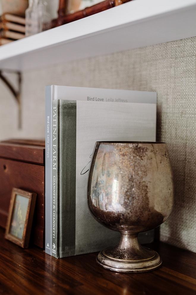 Raffia Wallpaper behind shelves Bankun Raffia in Gray by Thibaut #raffiawallpaper