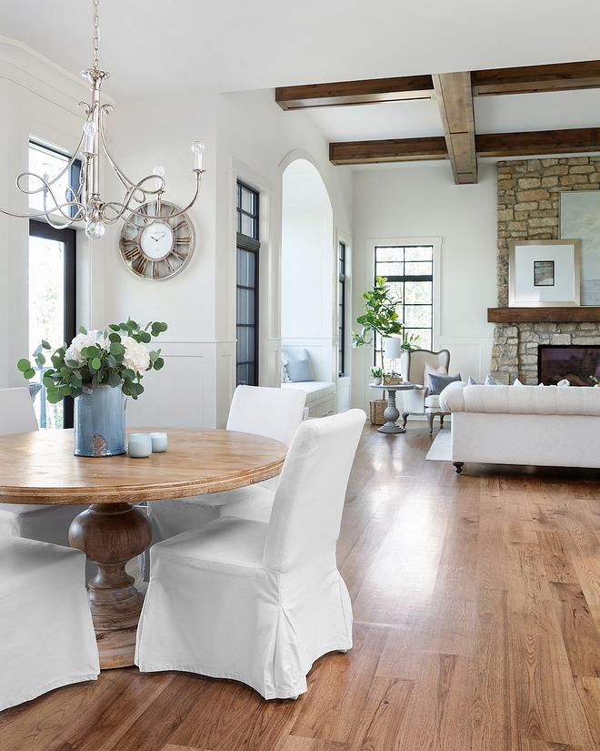 Hickory Plank hardwood floors French country home with white interiors with Hickory Plank hardwood floors #HickoryPlankhardwoodfloors #hardwoodfloor