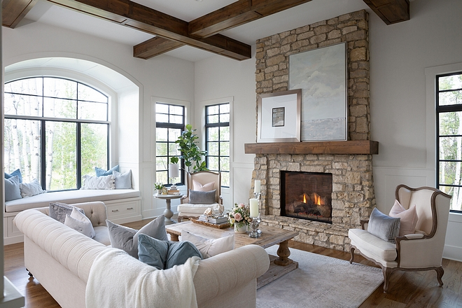 Living room with window-seat This room is probably the most shared and pinned photo of this home – it was on my Pinterest board years before we owned the property #Livingroomwindowseat #livingroom #windowseat