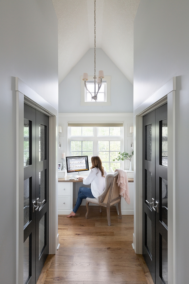 Her Office My previous homes never had an office I could devote to my design work, and finally I have this perfect spot to edit my photos and sketch new ideas. The built-in desk is located off the master bedroom, and looks out to the front of the property #heroffice #homeoffice