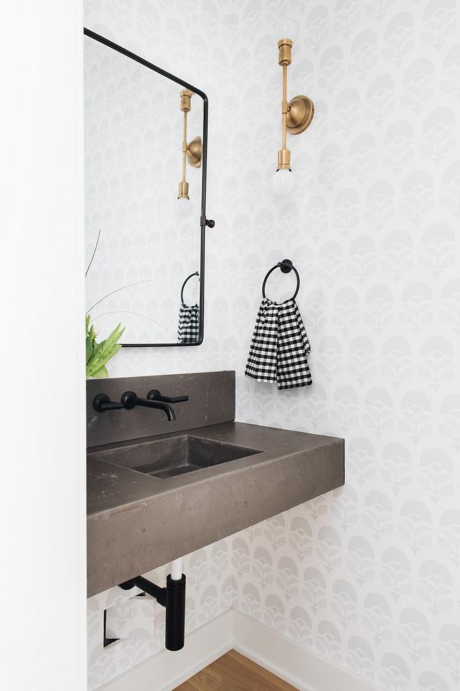 Bathroom with concrete floating vanity Bathroom with concrete floating vanity and black wall mounted faucet Bathroom with concrete floating vanity #Bathroom #concretefloatingvanity #floatingvanity #concretevanity