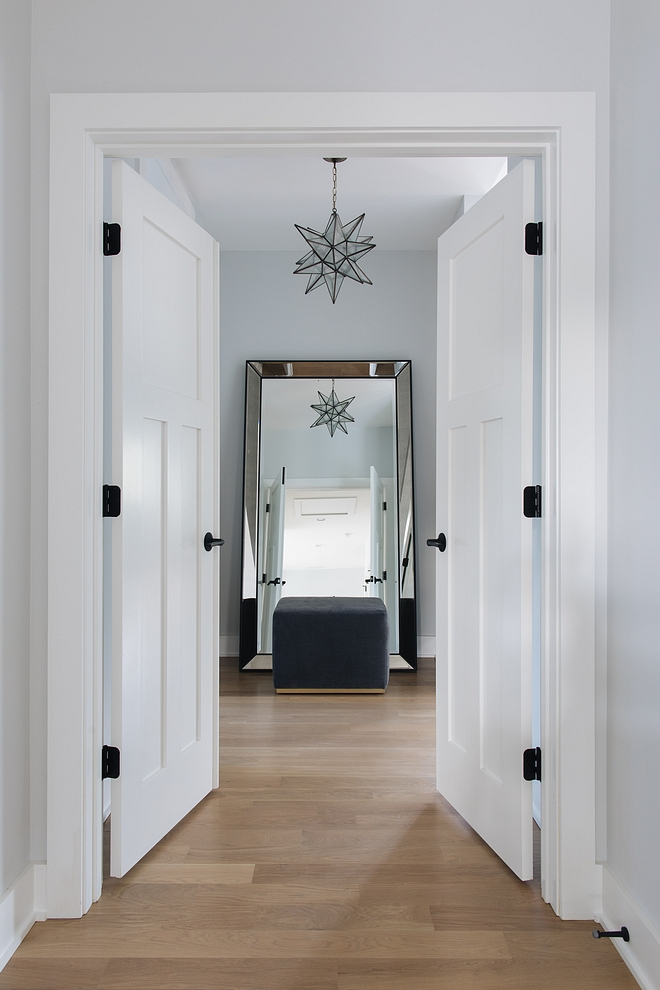 French interior doors open to the master bedroom Second Floor Doors Paint Color Sherwin Williams Extra White 7006 #SherwinWilliamsExtraWhite