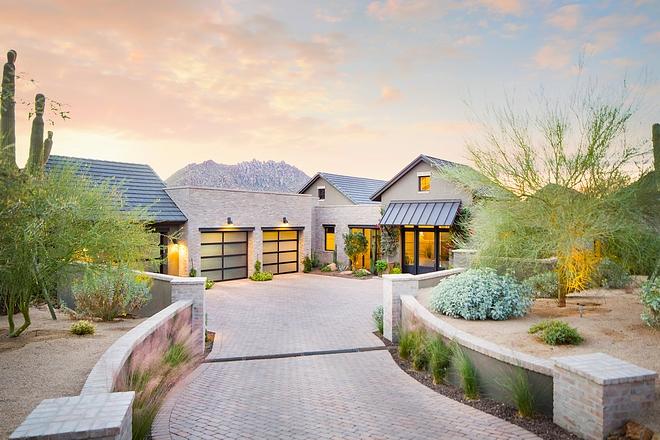 Arizona Modern Farmhouse New-construction Arizona Modern Farmhouse with metal roof brick exterior and brick driveway #Arizona #ModernFarmhouse