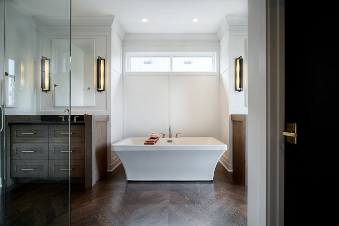 Master Bathroom Flooring 1/4 sawn white oak in a chevron pattern