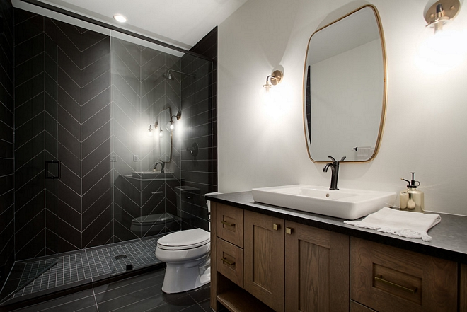 Basement Shower Tile 6x24 porcelain tiles for walls and floor, chevron pattern on back wall Basement Shower Tile Basement Shower Tile Basement Shower Tile #BasementShower #showerTile