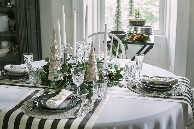 Black and white Christmas Table Decor