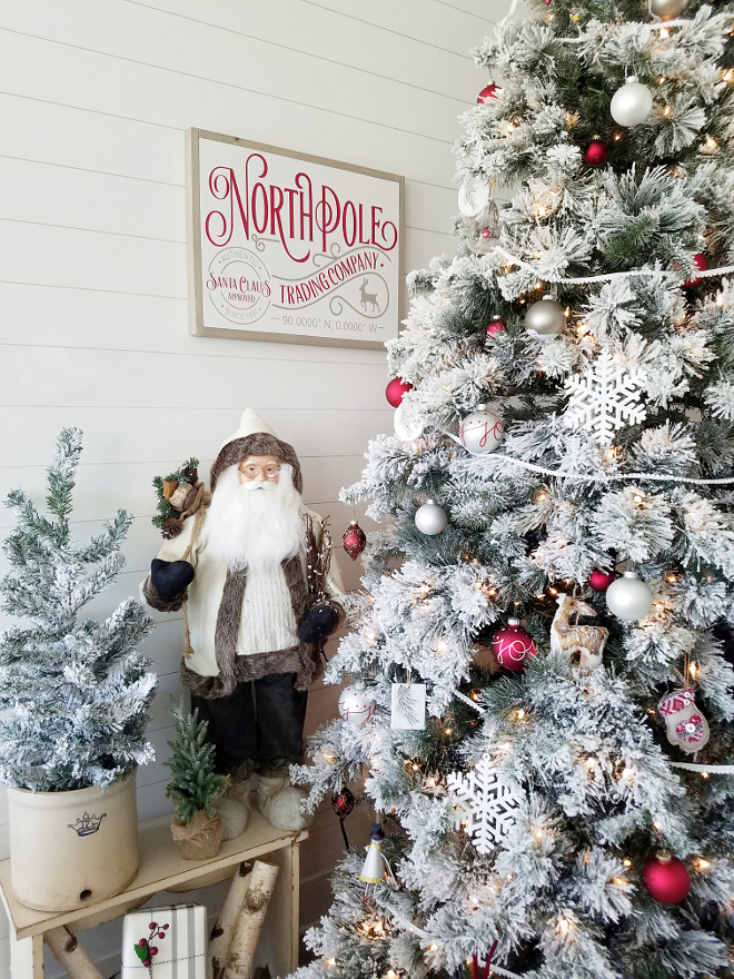Flocked Christmas Decor To keep it extra magical and fun for the kids I added this new North Pole sign