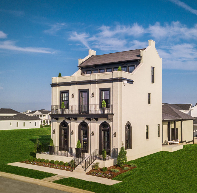 Beaux-Arts inspired architecture brick home painted in PPG1032-2 Hurricane Haze by PPG Beaux-Arts inspired architecture brick home #BeauxArts #architecture #brickhome