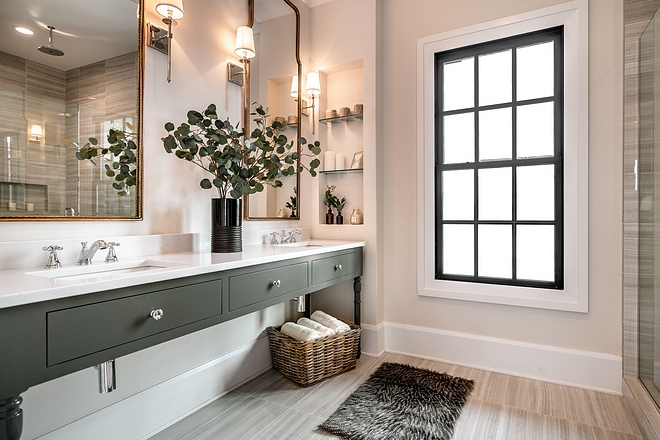 Armory by Pittsburgh Paints The master bathroom features custom cabinetry painted in Armory by Pittsburgh Paints Armory by Pittsburgh Paints #ArmorybyPittsburghPaints