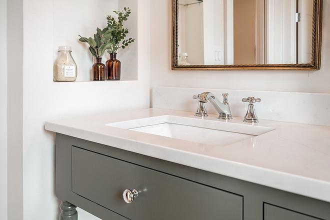 White quartz Countertop Aurea Stone Epitome on grey vanity White quartz Countertop #Whitequartz #Countertop