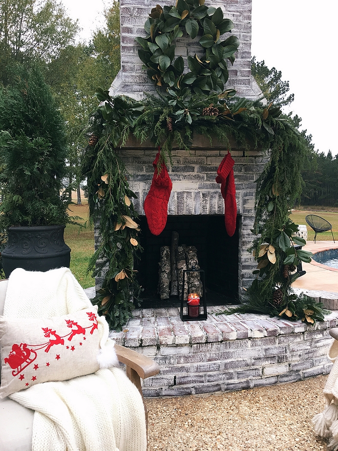 Christmas Fireplace Decor Outdoor Brick Fireplace Christmas Fireplace Decor Magnolia Wreath and Magnolia and Fir garland Ideas Thick garland #Christmas #Fireplace #Christmasfireplace #Christmasfireplacedecor #magnoliawreath #magnoliagarland #thickgarland