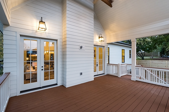 Back Porch pre-wired for a TV v with vaulted ceiling #backporch