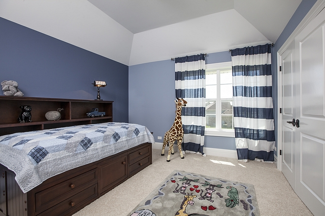 Boy Bedroom Paint color Sherwin Williams Aleutian with Sherwin Williams Distance on accent wall