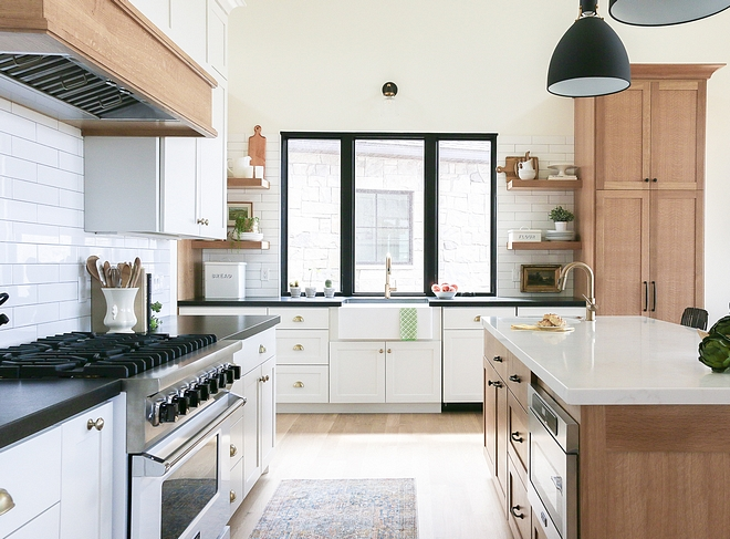 Kitchen Perimeter countertops in kitchen are leathered Absolute Black granite and island countertop is white quartz #kitchencountertop #perimetercountertop