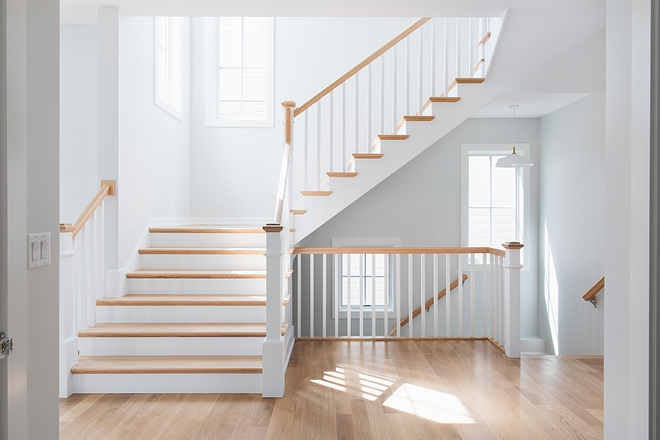 Staircase with White oak treads and white oak handrails Staircase #Staircase #WhiteoakStaircase