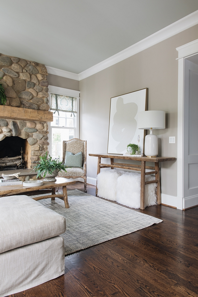 Wall color is Benjamin Moore Cape Hatteras Sand and ceiling is Restoration Harsware Silver Sage #paintcolors