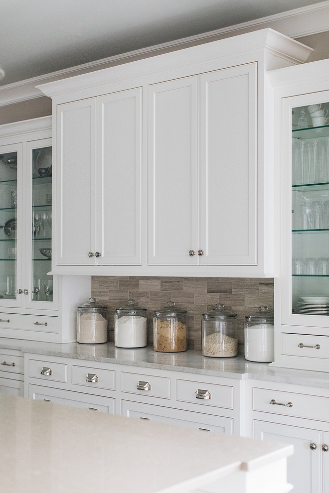 Hutch Buffet Kitchen Cabinet with white marble countertop and limestone subway tile Kitchen cabinet Hutch Buffet Kitchen Cabinet Hutch Buffet Kitchen Cabinet #HutchBuffetKitchenCabinet #BuffetKitchenCabinet #Buffetcabinet #KitchenCabinet