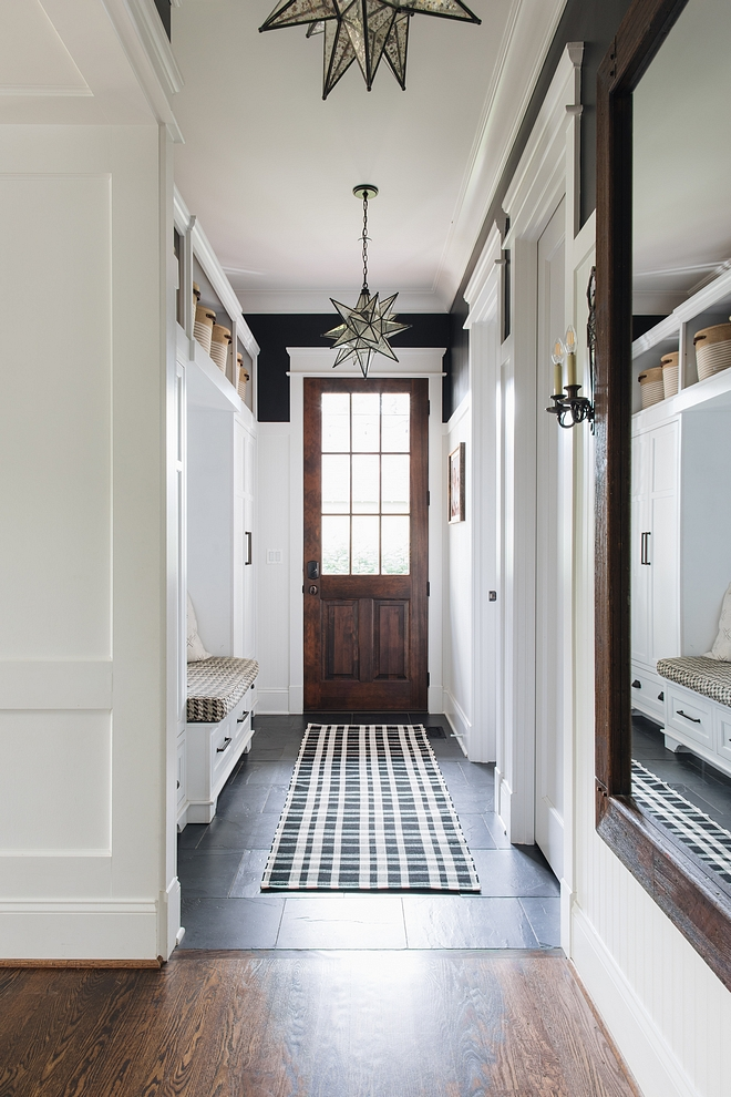 Mudroom Tile We have wood floors throughout the first and second floor but there was a good area to transition to tile in the mudroom so the floors transition to a black slate tile #mudroomtile #mudroom #slatetile