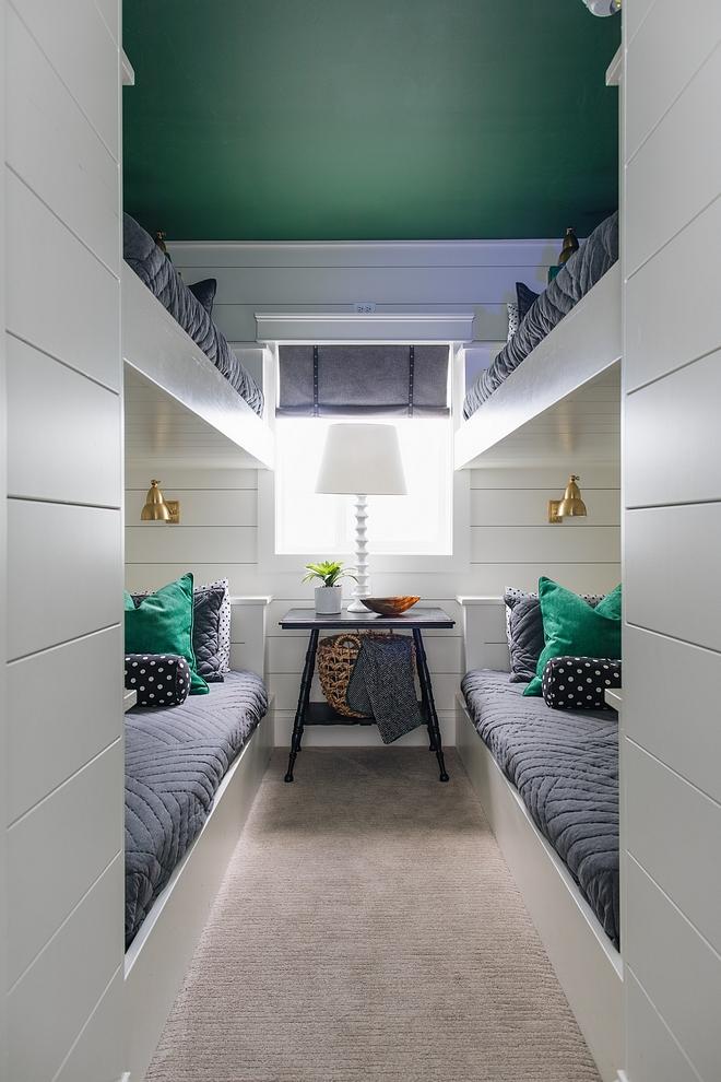 Bunk room with custom bunk beds shiplap and ceiling painted in Benjamin Moore emerald #bunkroom #bunkbeds #shiplap #bunkroomshiplap #custombunkbeds